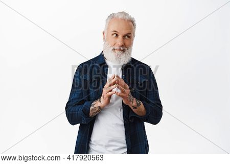 Thoughtful Hipster Old Guy Steeple Fingers, Looking Right At Thinking, Making Evil Genius Plan, Pond