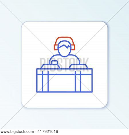 Line Dj Wearing Headphones In Front Of Record Decks Icon Isolated On White Background. Dj Playing Mu