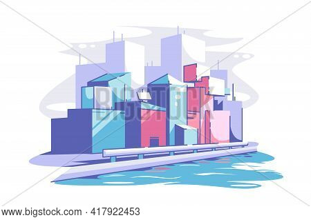 Modern Cityscape View Vector Illustration. Tall Buildings