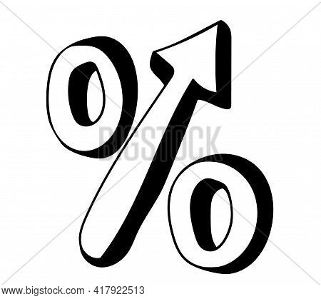 Hand Drawn Percentage Icon With Up Arrow In Doodle Style.  Isolated On White Background.  Rising Int