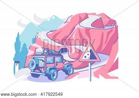 Road And Truck Vector Illustration. Complex Road