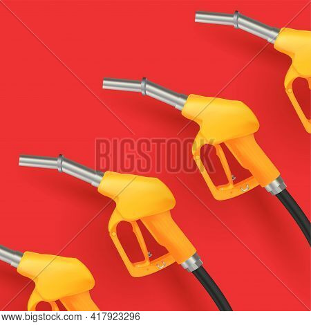 3d Illustration Of Gas Nozzle With Yellow Handle And Metalic Pump With Black Pipe On Red Backgrond