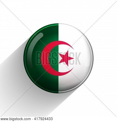 Glass Light Ball With Flag Of Algeria. Round Sphere, Template Icon. Algerian National Symbol. Glossy