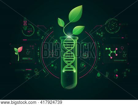 Concept Of Green Biotechnology Or Synthetic Biology, Graphic Of Plant Combined With Dna Shape