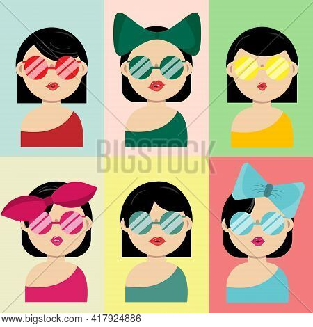 Collection Of Hairstyles Young Woman Wearing Sunglasses And And Accessories. Wearing Different Color