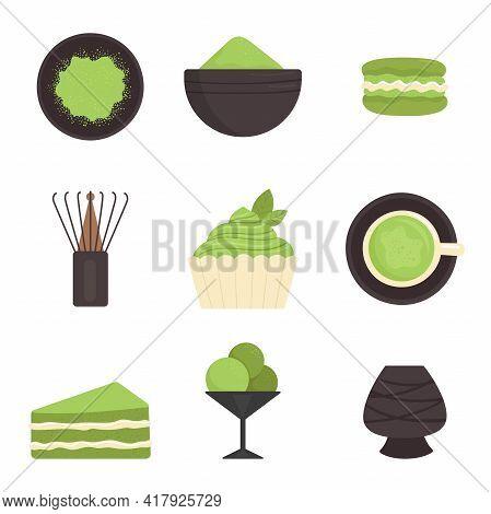 Matcha Tea, Set Of Elements. Japanese Traditional Tea Ceremony. Green Tea, Healthy Food, Desserts, C