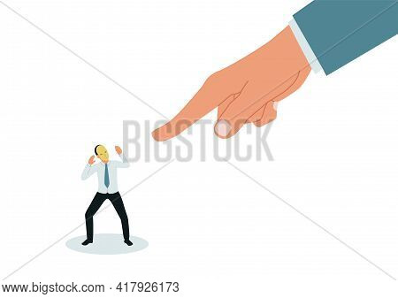 Fear Of Exposure. A Large Hand Points At The Impostor. Frightened Businessman In A Mask. Vector Illu