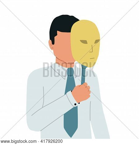 Imposter Syndrome. The Businessman Hides His Face Under A Theatrical Mask. The Man Hides His Identit