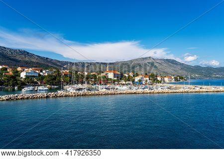 Beautiful View On The Adriatic Sea In Orebic, Peljesac Peninsula, Dalmatia, Croatia