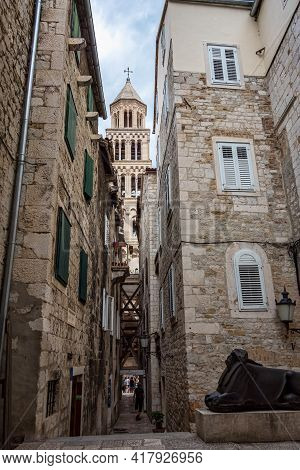 Diocletian Palace Ruins And Cathedral Bell Tower, Split In Dalmatia, Croatia