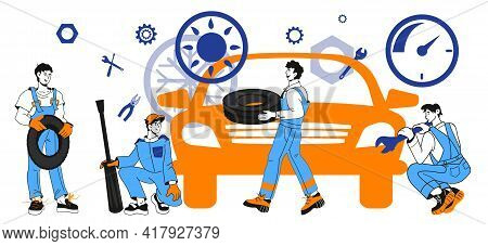 Car Workshop And Repair Service Banner With Mechanics Characters, Cartoon Vector Illustration Isolat
