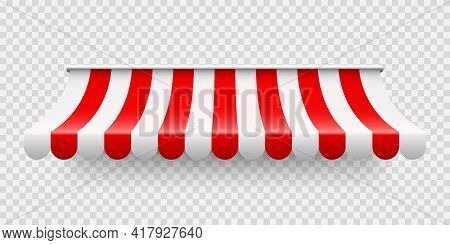 Red Shop Sunshade On Transparent Background. Realistic Striped Cafe Awning. Outdoor Market Tent. Roo
