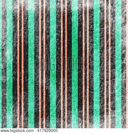 Grungy Vertical Stripes Green And Tangerine With Vertical Lines In 12x12 For Design Elements And Bac