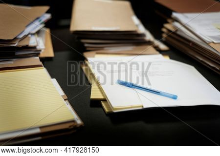 Legal note pad on desk with paper and pen for business on office desk