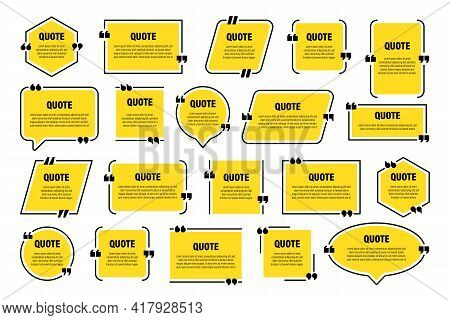 Set Of Yellow Isolated Quote Frames. Speech Bubbles With Quotation Marks. Blank Text Box And Quotes.