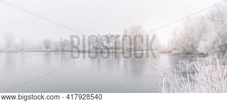 Panoramic Morning Mist Over Frozen Lake. Winter Nature Landscape. Misty Foggy Morning Sunlight, Sere
