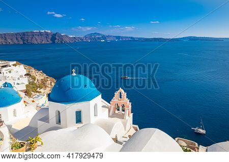 Santorini Island, Greece. Incredibly Romantic Summer Landscape On Santorini. Oia Village In The Morn