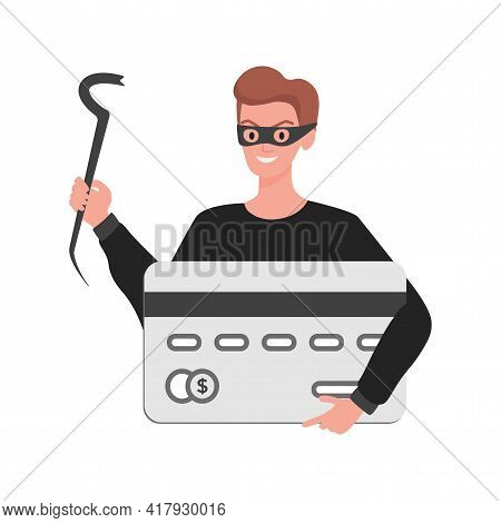 Thief In Mask Holding Credit Card In Hand Vector Flat Illustration Isolated On White Background. Ste