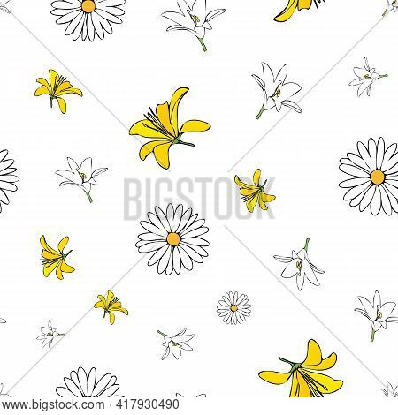 Vector White Background White Yellow Lemony Floral Seamless Pattern. Daisies, Lilies, Crocus. Seamle