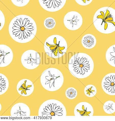 Vector Yellow Background White Yellow Lemony Floral Seamless Pattern. Daisies, Lilies, Crocus. Seaml