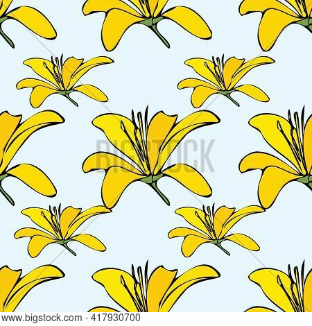 Vector Blue Background White Yellow Lemony Floral Seamless Pattern. Daisies, Lilies, Crocus. Seamles