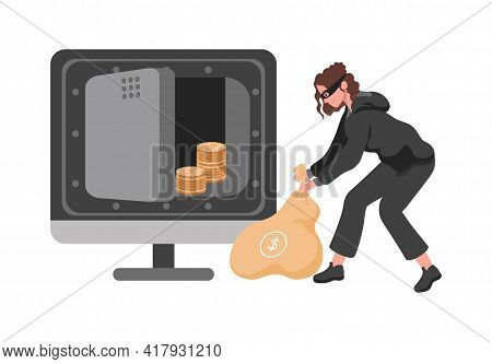 Thief Woman In Mask Stealing Money From Vault Vector Flat Illustration. Robber Or Burglar Female Cha