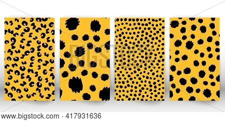 Set Of Leopard Print. Panther Skin. Spotted Fur Texture. Animal Print Leopard.