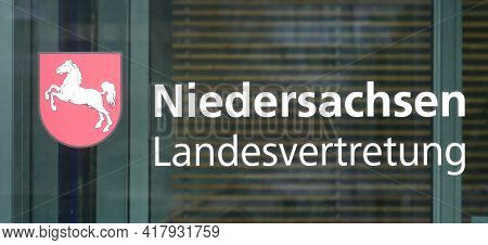 Berlin, Germany, March 28, 2021, lettering of the Lower Saxony state representation in Berlin