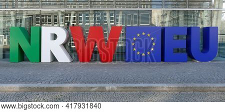 Berlin, Germany, April 30, 2021, Font Design by the State Representation of North Rhine-Westphalia