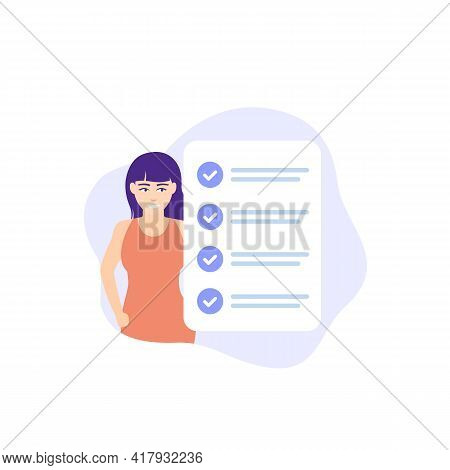 Completed Task, To Do List, Checklist Vector Icon