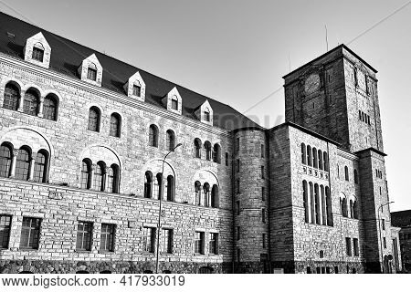 Historic Tower Of Stone Imperial Castle In Poznan, Monochrome