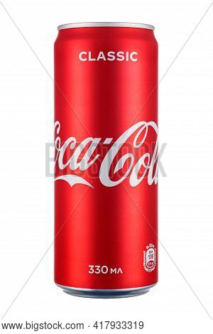 Moscow, Russia - April 07, 2021: Coca-cola Classic In Bright Red Aluminum Can Isolated On White Back