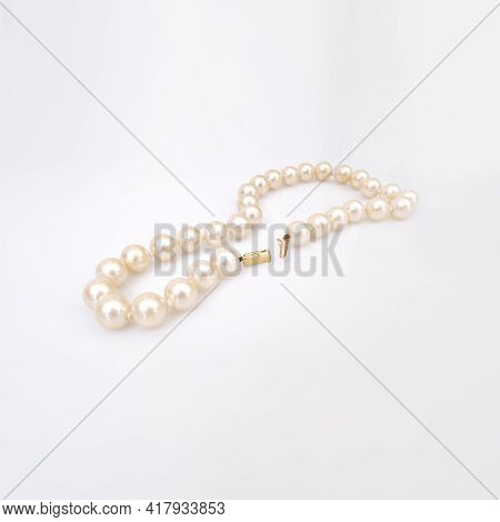 Pearl Precious Necklace Isolated On White Background
