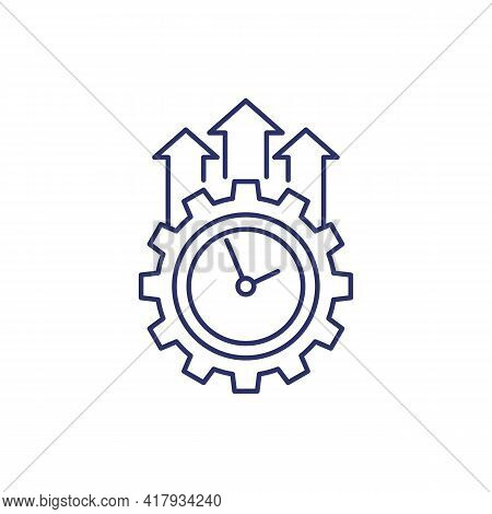Efficiency Growth Icon On White, Line Vector