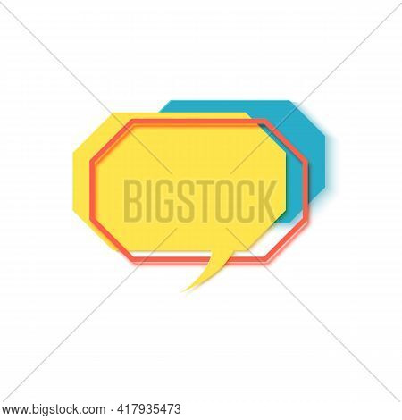 Yellow Speech Bubble In Paper Cut Art. Memphis Style Hexagon Banner With Geometric Shapes. Colorful