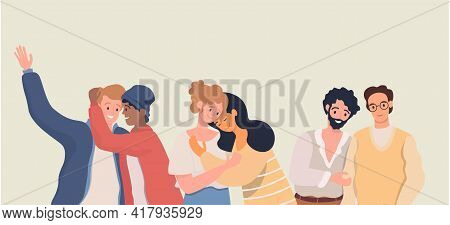 Homosexuality, Romantic Partners Vector Flat Illustration. Happy Smiling Gay And Lesbian Couples Hug