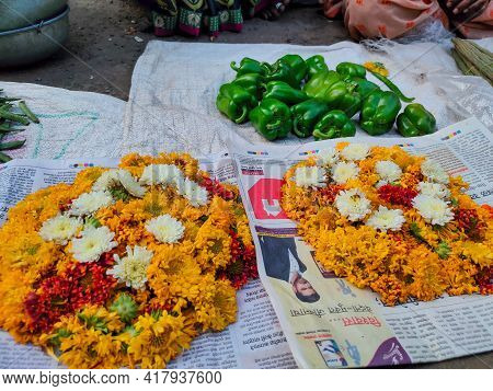Kolhapur, Maharashtra, India- December 5th 2020;stock Photo Of Fresh Green Capsicum And Yellow, Whit