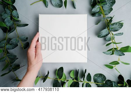 Female Hand Holding Blank Canvas Frame, Green Plant Branches On Background. Wrapped White Canvas For