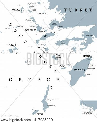 Dodecanese Islands, Gray Political Map. Greek Island Group In The Southeastern Aegean Sea And Easter