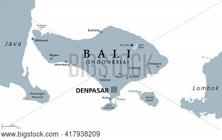 Bali, Gray Political Map. A Province And Island Of Indonesia, The Westernmost Of Lesser Sunda Island
