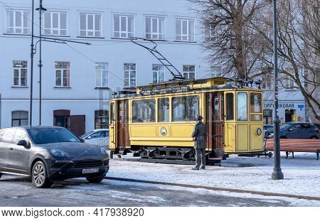 Vyborg, Leningrad Region, Russia - March 4, 2021: Small Cafe In The Yellow Tram. The Tram Monument I