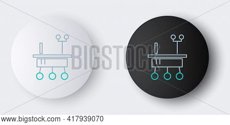 Line Mars Rover Icon Isolated On Grey Background. Space Rover. Moonwalker Sign. Apparatus For Studyi