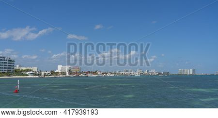 Ultramar Ferry Leaving To Isla Mujeres, View From The Boots Deck To Hotel Zone Cancun, Mexico