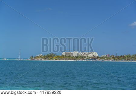 Norten Beach On Colorful Isla Mujeres Island Near Cancun In Mexico, View From The Ferry To The Islan