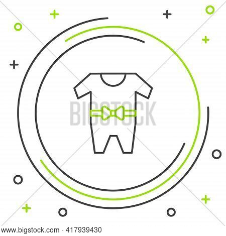 Line Baby Clothes Icon Isolated On White Background. Baby Clothing For Baby Girl And Boy. Baby Bodys