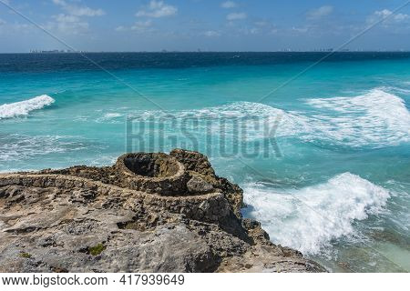 Ruins Of The Mayan Temple On Isla Mujeres Island Near Cancun, Mexico, Background Beautiful Sky With