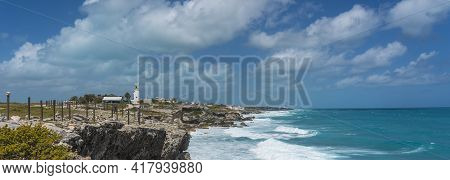 Isla Mujeres South Point Punta Sur Cancun Mexico Island Turquoise Water And Rocky Coastline, Backgro
