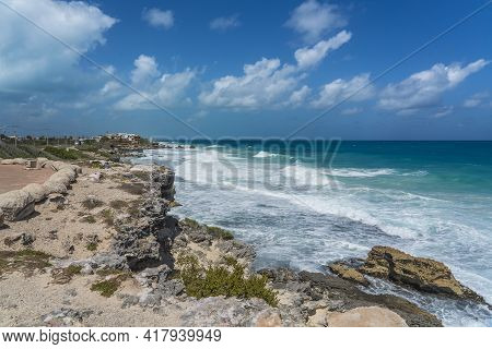 Rocky Coastline With Turquoise Water On Isla Mujeres, South Point Punta Sur Cancun Mexico Island, Ba