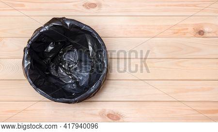 Trash Can Top View. Empty Garbage Bin Banner. Black Bag In A Trash Can. Rubbish Bin. Empty Bin On Wo