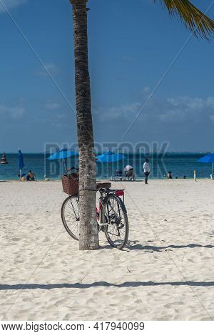 Bcycle Leaning On Palm Tree At A White Sandy Beach On Isla Mujeres. Cancun, Mexico, Vertical